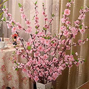 Uhbgt Artificial Cherry Spring Plum Peach Blossom Branch Silk Flower Tree Decor 1pcs Silk Flower Arrangements Artificial Flower Branches Fake Flowers Arrangements Cherry Blossom Decor