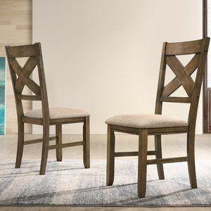 Gracie Oaks Poe Cross Back Side Chair In Hazelnut Brown Wayfair Upholstered Dining Chairs Dining Chairs Solid Wood Dining Chairs