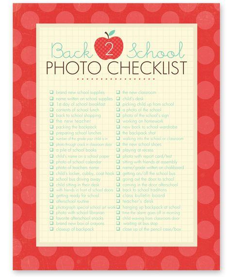 Printable Back to School Photo Checklist: 50 back to school photo ideas. #backtoschool