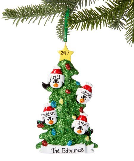 Treasured Ornaments Penguin Christmas Tree Family Of Four Personalized Ornament Zulily Grinch Christmas Tree Diy Felt Christmas Tree Felt Christmas Tree