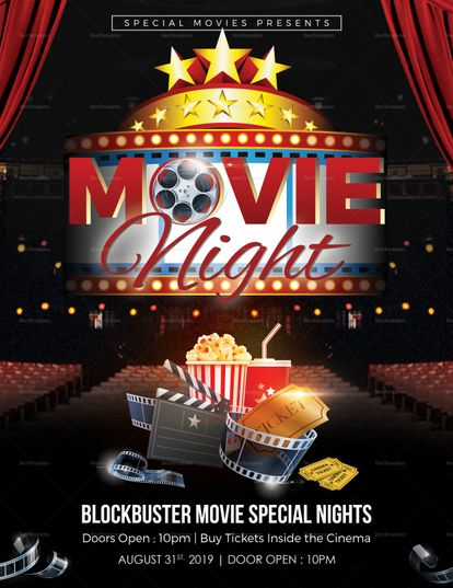 Printable Movie Night Flyer Template  Design Flyer Templates