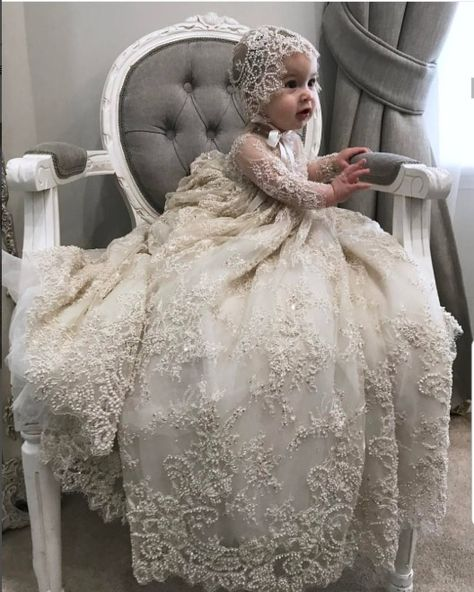 Online Shop Luxury White Ivory Christening Gown Lace Pearls Baby Girls Baptism Dresses Toddler Infant Christening Dress With bonnet Girls Baptism Dress, Baby Christening Gowns, Baptism Gown, Baby Girl Christening, Baptism Outfit, White Baptism Dress, White Baby Dress, Baby Gown, Toddler Dress