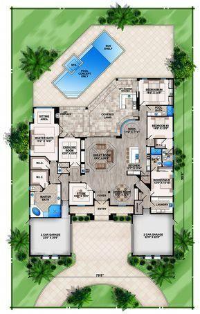 Mediterranean Floor Plan 4 Bedrms 4 5 Baths 4155 Sq Ft 133 1087 Mediterranean Floor Plans Courtyard House Plans Beach House Plans