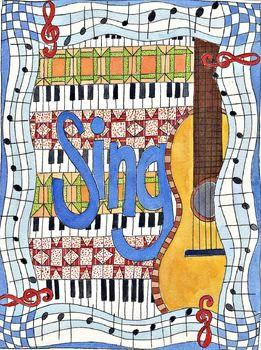 Singing poster, music clip art, guitar clip art, music room poster