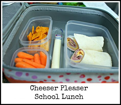 Cheese Please - ham and cheese wrap with the best cheese snacks and some carrots to fit the orange look and sneak in an extra veggie