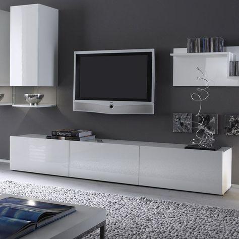 banc tv blanc laqu design foxy meuble tv pinterest - Meuble Tv Living Blanc Laque For You