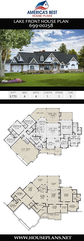 House Plan 699 00258 Lake Front Plan 3 773 Square Feet 4 Bedrooms 4 5 Bathrooms Lake House Plans Single Story House Floor Plans Basement House Plans