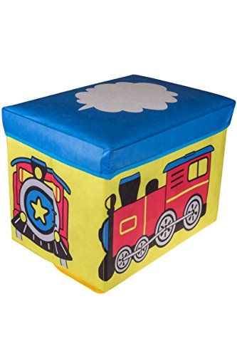 Toy Storage For Kids Choo Choo Train Collapsible Storage Organizer By Clever Creations Blue Red Folding Storage Ottoman Storage Ottoman Kid Toy Storage