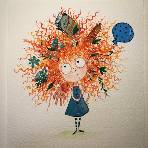 A little painting of Curly Girl from I DON'T WANT CURLY HAIR! Gouache and watercolour :) NOW SOLD.