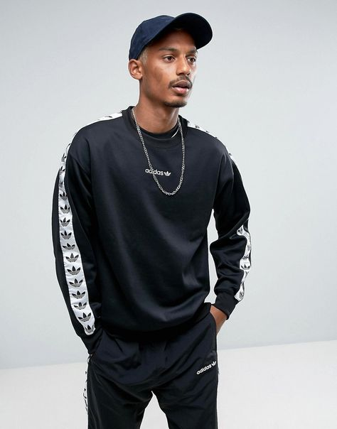 adidas Originals Adicolor TNT Tape Crew Sweatshirt In Black