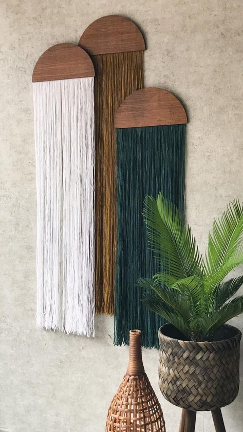 casita hanging wall fiber art mid century modern art tapestry wall art home decor hanging wall yarn woven tapestry macrame half moon panel Tapestry Weaving, Wall Tapestry, How To Hang Tapestry, Cheap Home Decor, Diy Home Decor, Nature Home Decor, Green Home Decor, Funky Home Decor, Handmade Home Decor