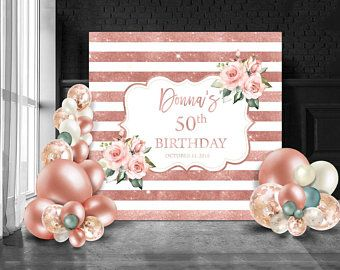 50th Birthday Backdrop High Heels Rose Gold Backdrop Etsy In 2020 Rose Gold Party Birthday Backdrop Birthday Party Background