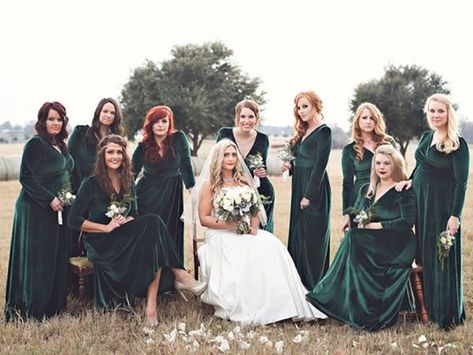 7c694f26984 Velvet bridesmaid dresses can add to the cozy vibes of a winter wedding.  These emerald gowns are elegant and exude vintage romance.