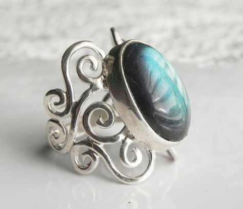 Labradorite Ring - Swirl Ring - Spirals Waves Gemstone Ring - Unique Silver Labradorite Jewelry - Romantic Filigree from FantaSeaJewelry on Etsy.