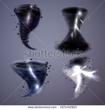 Stock Vector: Storm hurricane tornado cyclone realistic set