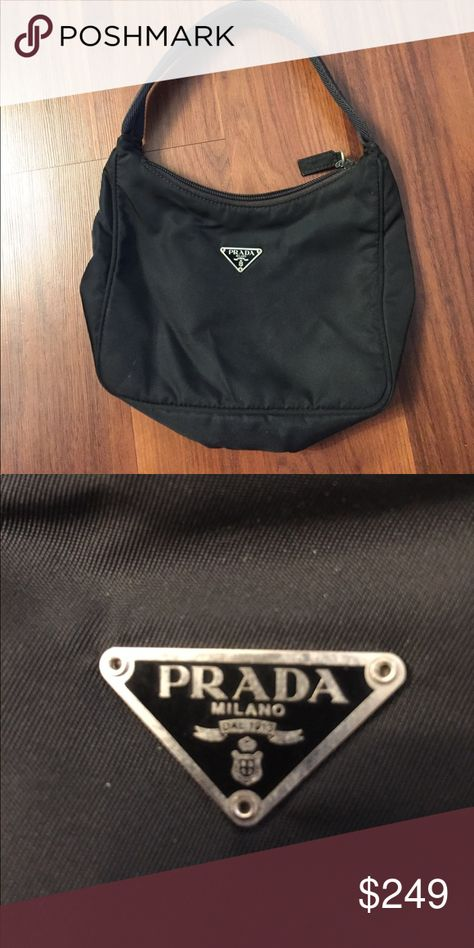 26f0bab4ac83 Vintage 90's Prada Tessuto Nylon Mini Small black shoulder bag in excellent  shape. No authentication cards, but is authentic. Prada Bags Shoulder Bags