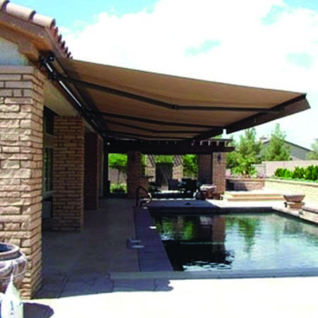 10 Smart Ways To Bring Color To Your Outside Space Homes Tre Outdoor Awnings Backyard Patio Patio Awning