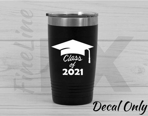 Class of 2021 Graduate Graduation Cap Vinyl Decal Sticker - 4.8 W x 4 H / White