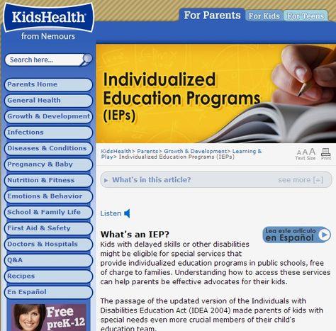 Individualized Education Programs Ieps For Parents Kidshealth >> Pinterest Pinterest