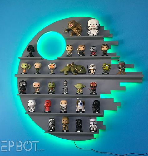 Make your own Star Wars Death Star Shelving for Funko POP!s - (credit to epbot. - - Make your own Star Wars Death Star Shelving for Funko POP!s - (credit to epbot. Star Wars Decor, Decoration Star Wars, Star Wars Art, Funko Pop Shelves, Funko Pop Display, Toy Display, Display Ideas, Star Wars Bedroom, Star Wars Nursery