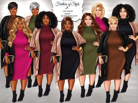 Curvy girls clipart, Plus size girls clipart, Fashion girls clipart, Fashionable girls clipart, African American clipart, Afro girls clipart