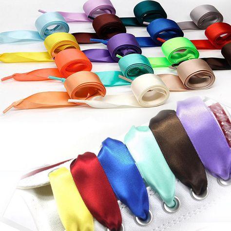 rainbow Sport Shoes Lace Shoelaces Satin Ribbon Shoelaces Strings Flat Silk