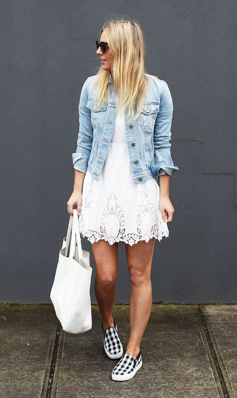 26 Top Casual Spring Outfits For This Season - Be Modish love the jean jacket with the white eyelet dress and the sneakers. i have the jacket and I bought a similar white skirt.