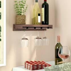Bernon 5 Bottle Wall Mounted Wine Bottle And Glass Rack In 2021 Wine Glass Rack Hanging Wine Glass Rack Glass Rack