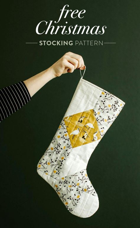 A free quilted Christmas stocking pattern right in time for the holidays! Sew a simple, modern stocking with this step by step tutorial. Sewing Patterns Free, Free Sewing, Sewing Tutorials, Beginners Sewing, Clothes Patterns, Sewing Tips, Dress Patterns, Free Pattern, Carpe Diem