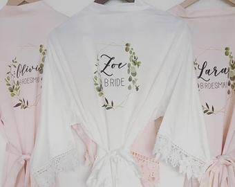 Bridesmaid Robe Bridal Robes Bride Robe Bride Dressing Gown Personalised Robes Wedding Gown Wedding Pjs Bridesmaid Gift Satin Robe In 2020 Bridesmaid Robes Bride Dressing Gown Bridal Robes