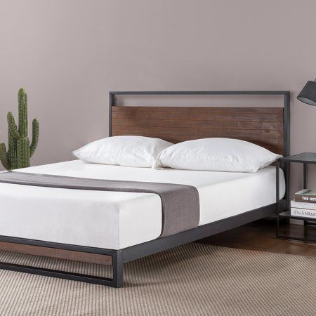 Zinus Suzanne 37 Metal And Wood Platform Bed With Headboard