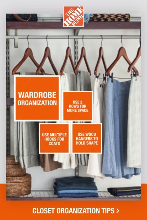 Explore organization tips and advice to get the most out of your closet space. Learn how shelves, racks and hooks give you more space to work with while also acting as displays for accessories. Tap to learn more with this closet organization guide from The Home Depot.