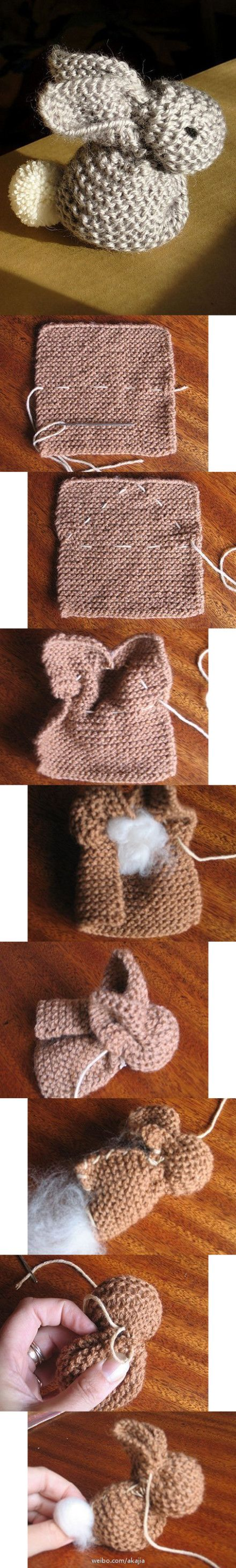 interesting idea - this post creates a bunny from a square piece of knitting -- seems like it ought to work with a square made pf single crochet too