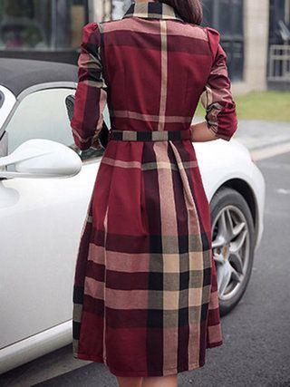 Work Checkered/Plaid A-line Dress with Belt
