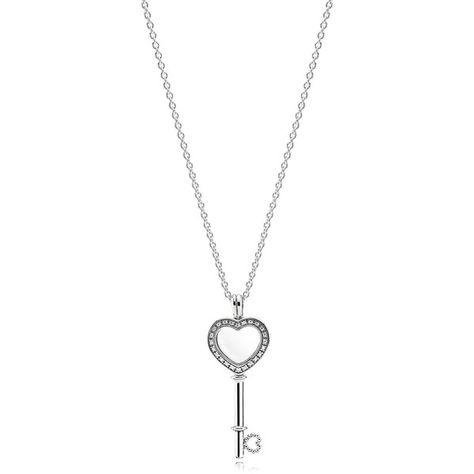 Pandora Floating Locket Heart Key Necklace 170 Liked On