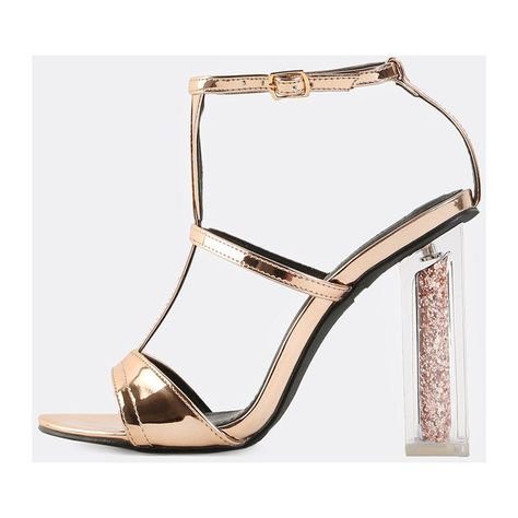 39cc9615fd Metallic Glitter Chunky Heels ROSE GOLD ($43) ❤ liked on Polyvore featuring  shoes, gold, ankle strap shoes, glitter high heel shoes, thick heel shoes,  ...