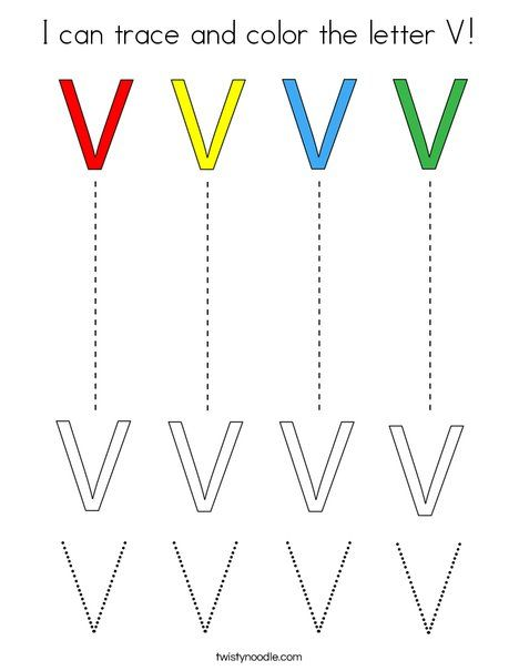I Can Trace And Color The Letter V Coloring Page Twisty Noodle Letter V Coloring Pages Lettering