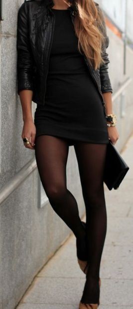 Edgy look | Little black dress, black tights and leather jacket