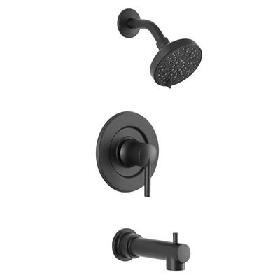 Moen Arlys Matte Black 1 Handle Wall Mount Bathtub Faucet Valve Included Shower Tub Bathroom Shower Faucets Shower Faucet