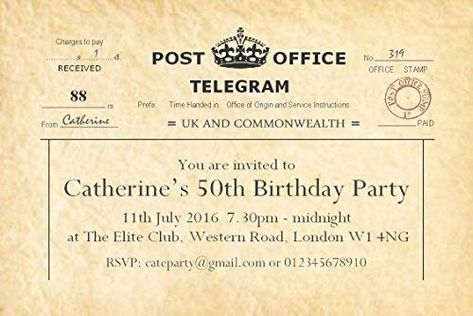 50 BIRTHDAY INVITATIONS Personalised For You Vintage Telegram Invites 18th 21st 30th 40th 50th 60th 70th Old Adult Party With