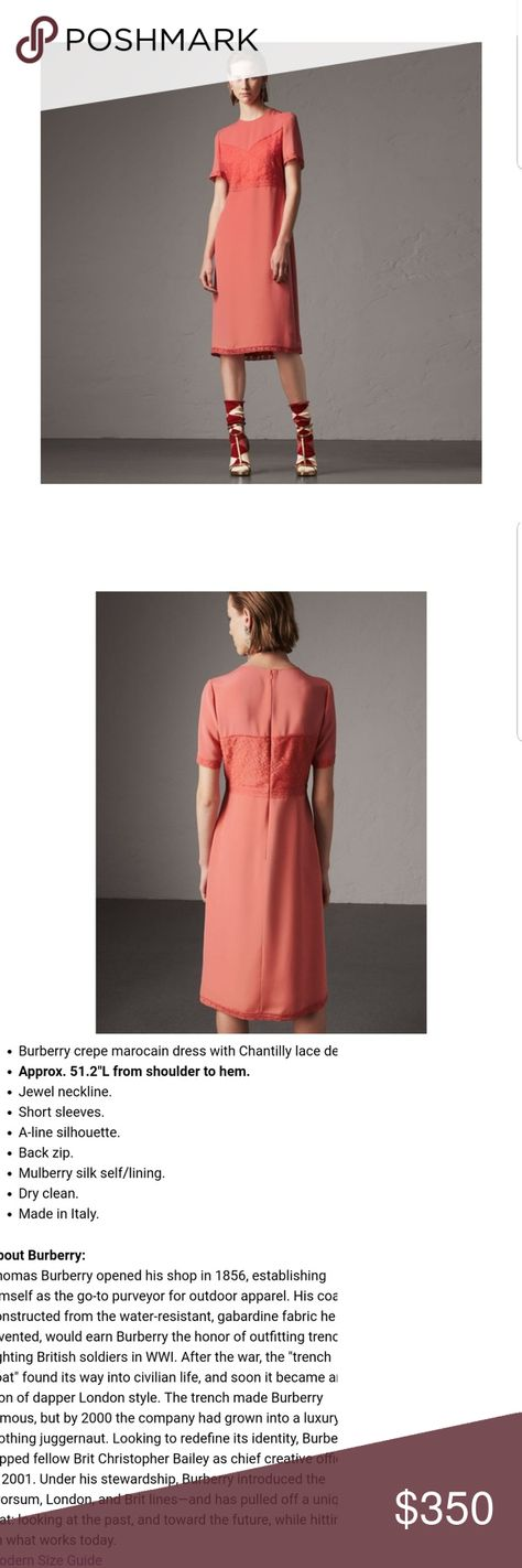 d4f0028df57e Burberry silk chantilly crepe lace marocain dress New beautiful coral color  a great multi functional dress