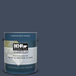 Behr Ultra 1 Gal S520 7 Night Flight Extra Durable Satin Enamel Interior Paint Primer 775301 The Home Depot Behr Ultra Interior Paint Behr Premium Plus Ultra