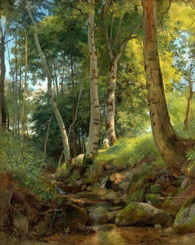 Art Canvas Print Sunshine Forest Landscape Oil Painting Printed On Canvas P182 Oil Painting Landscape Landscape Paintings Forest Landscape