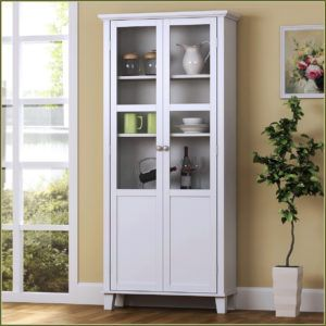 Tall Pantry Cabinet With Glass Doors White Storage Cabinets Tall Cabinet Storage Glass Cabinet Doors