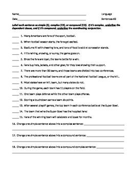 Ela Sentence Structure Simple Complex Compound Worksheet 3 W