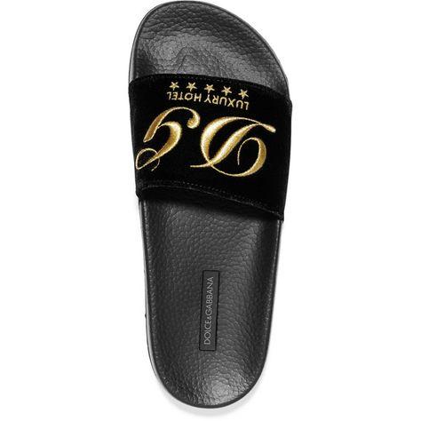 2a700d91c5b8c Dolce & Gabbana Embroidered velvet slides ($340) ❤ liked on ...