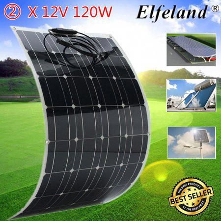 Elfeland Portable Solar Panel 2pcs 120watt 12v Monocrystalline Lightweight Solar Panel Solar Cells Poly So Solar Panels Flexible Solar Panels Best Solar Panels