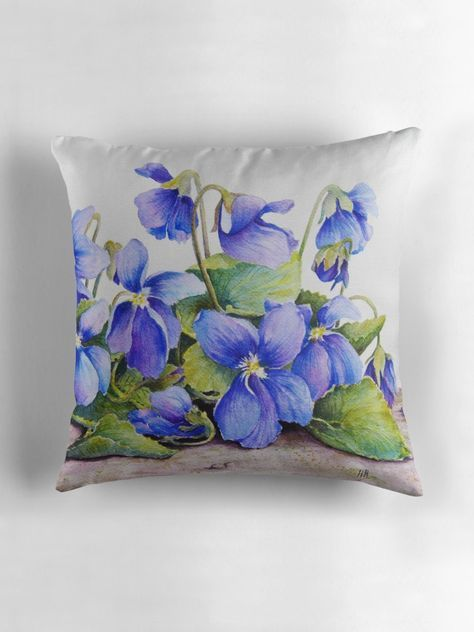 Big Violets Gmo Violets Watercolour Painting Throw Pillow By Heatherian Throw Pillows Silk Painting Pillows