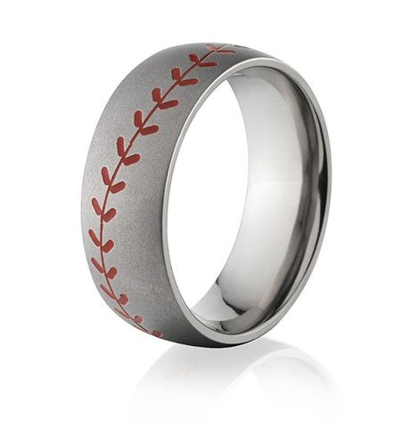Mens Baseball Ring In A Brush Finish And Red Seams In 2020 Baseball Ring Precious Metal Ring Baseball Wedding Ring