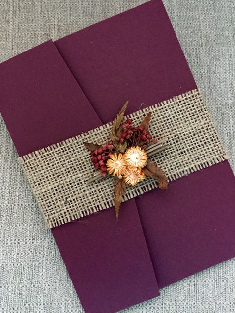 Burgundy Autumn Wedding Invitation Suite with burlap belt and dried flowers bouquet / http://www.deerpearlflowers.com/burgundy-and-gold-wedding-ideas/